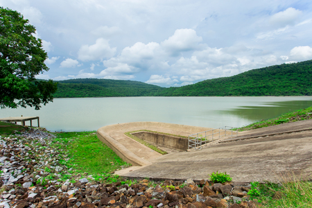 spillway or retaining dam in rural vietnam