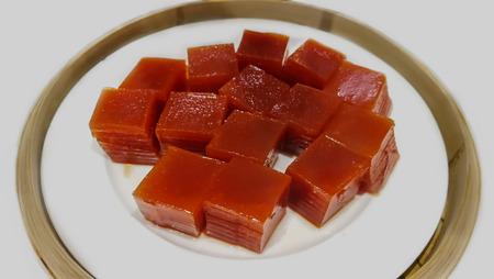 Layer sweet cake (Khanom Chan) Thai traditional dessert in rose shape Reklamní fotografie