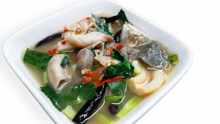 Thai Cuisine and Food Delicious Thai Clear Spicy Hot and Sour Soup with Beef Entrails in A Bowl