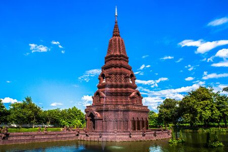 Pagoda and water channel , Ayutthaya. Holy places of Thailand, destroyed temples Stock Photo