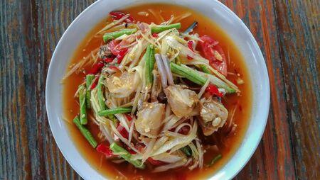 Thailand spicy papaya salad with crab. Traditional Thai food