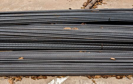 Industrial background. Rebar texture. Rusty rebar for concrete pouring. Steel reinforcement bars. Construction rebar steel work reinforcement. Closeup of Steel rebars