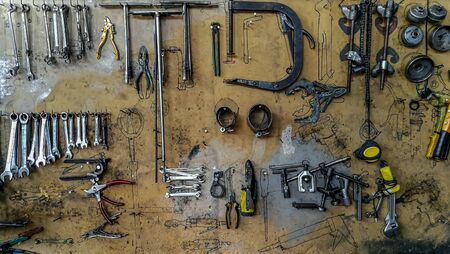Wall in workshop with professional tools