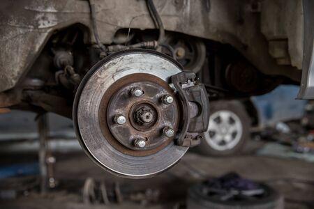 Closeup of brake disc mounted on car