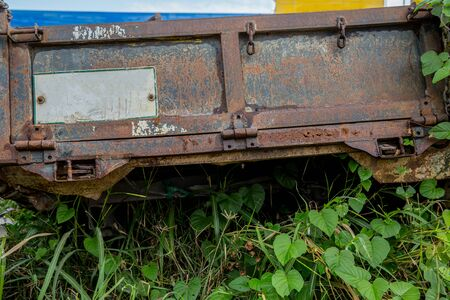 close up view of a rusted old vintage pick up truck in different colors Stock Photo - 133102829