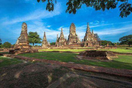 Pagoda at Wat Chaiwatthanaram temple,One of the famous temple in Ayutthaya,Temple in Ayutthaya Historical Park, Ayutthaya Province, Thailand.