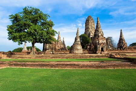 Pagoda at Wat Chaiwatthanaram temple,One of the famous temple in Ayutthaya,Temple in Ayutthaya Historical Park, Ayutthaya Province, Thailand Reklamní fotografie