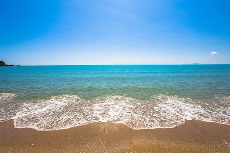 Sea wave foam on Koh Lanta, Krabi Thailand. Exotic paradise of Thailand beach Asia. Peaceful ocean wave at beach. Perfect resort for relax. Ocean wave. Sea waves on beach