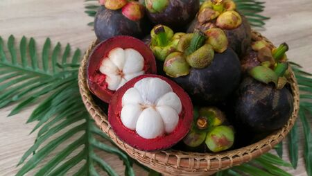Ripe mangosteen fruit on white plate and pastel color background, Thai fruit