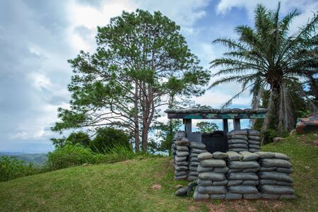 Old bunker war make of sandbag for the military on the mountain,tradition place for tourists at Khao kho,Petchabun,Thailand Stock Photo