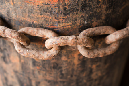 chaining: Old rusty chain link macro Stock Photo