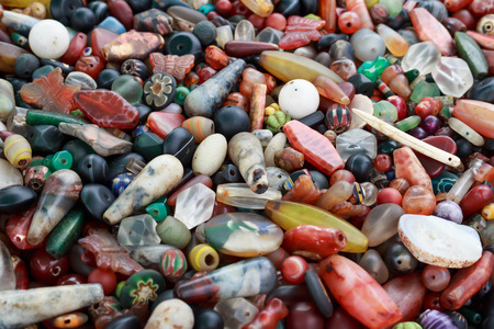 beads: Ancient old beads collection. Stock Photo