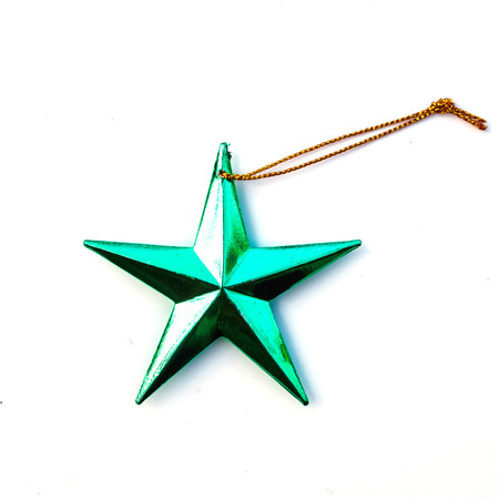jewell: Green Christmas star isolate on white background. Stock Photo