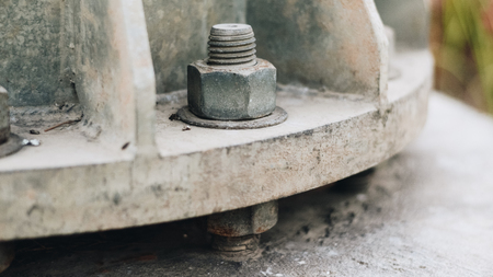 Nut screw mounting in the metal pipe.