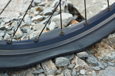 mountainbike: mountainbike flat tire on rocks