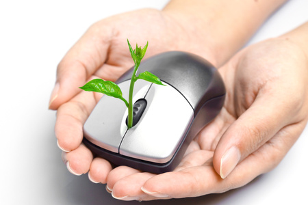 carbon emission: hands holding a tree growing on a mouse Stock Photo