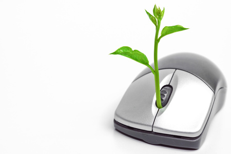 carbon emission: a tree growing on a mouse   green it   go green