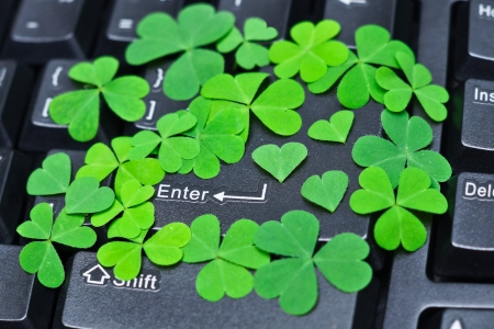 enter button covered with green heart shaped leaves  photo