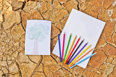 a picture of trees on cracked earth with white paper and color pencils   growing tree   save the world   environmental problems   cut tree photo