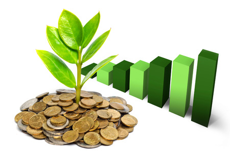 tress: tress growing on coins with green graph