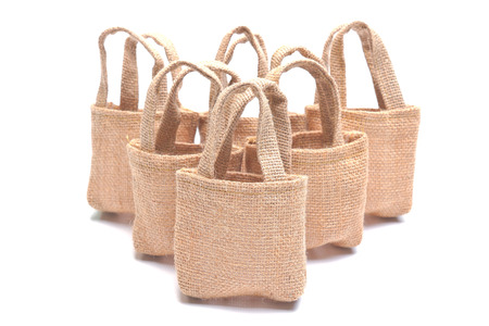 cloth bags on isolated background photo