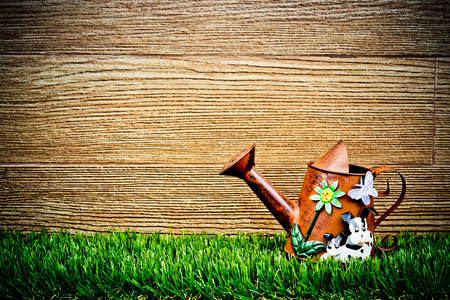 old and rusty watering can on green grass with wood background photo