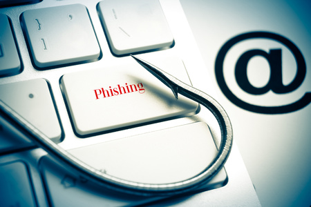 phishing: phishing   a fish hook on computer keyboard with email sign   computer crime   data theft   cyber crime