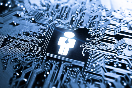 hr: businessman symbol on computer circuit board - IT Human Resources