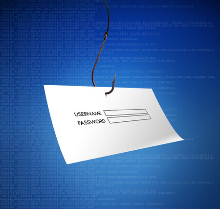 malware: Concept of hacking or fishing a login and password with malware program on blue digital background