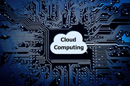 symbol of a cloud on computer circuit board - cloud computing photo