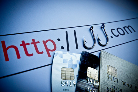 unsecured http connection with credit cards - phishing website concept photo
