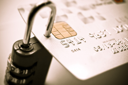 bank protection: credit card with security lock