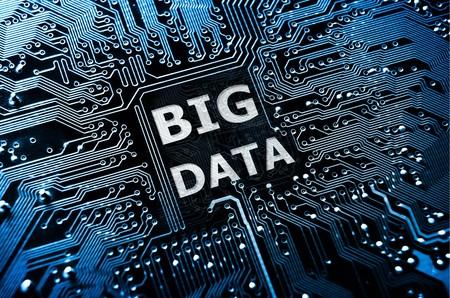 단어 빅 데이터와 데이터의 개념 회로 기판