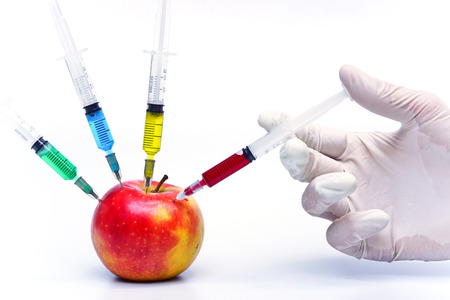 hand injecting chemical to apple - gmo fruit photo