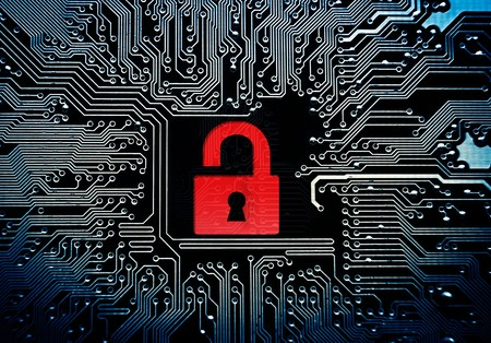 Hacked symbol on computer circuit board with open red padlock Stock Photo