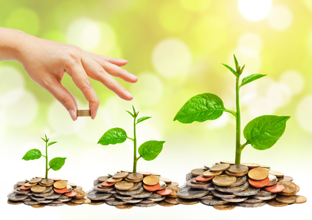 business savings: hand giving a golden coin to a tree growing on piles of golden coins - saving money Stock Photo
