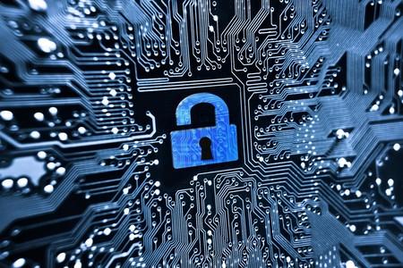 security lock symbol on computer circuit board Stockfoto