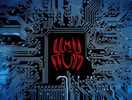 computer virus sign on circuit board photo