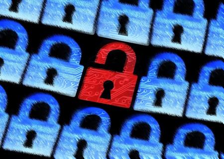 computerbeveiliging - Hacked symbool van open rode hangslot omringd door onscherpte blauwe hangsloten Stockfoto