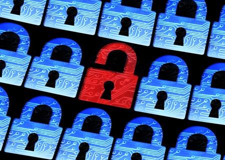 コンピュータ セキュリティ - ハッキングされたシンボルに囲まれた開いた赤い南京錠のぼかし青南京錠