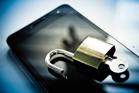 security: mobile security - smartphone data theft concept
