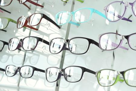 eye glasses on the shelf