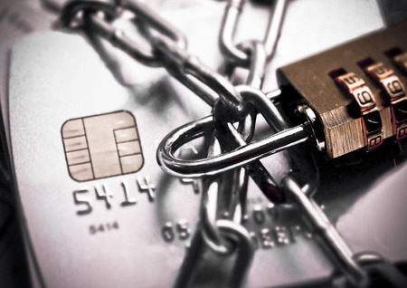 email security: chained credit cards security lock with password - phishing protection concept