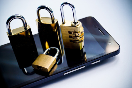 data theft: mobile security - smartphone data theft concept