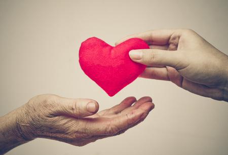 mano anziano: prendersi cura della vecchia madre - giovane mano femminile che d� un cuore rosso di vecchia mano di una madre