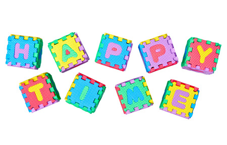 find similar images: Save to a Lightbox ▼    Find Similar Images    Share ▼ Jigsaw boxes arranged as a word happy time