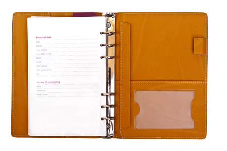 datos personales: cuaderno abierto con los datos personales en el fondo aislado Foto de archivo