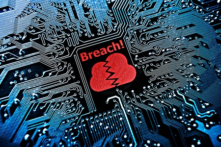 secure data: cloud system breach Stock Photo