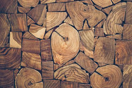 oak: pieces of teak wood stump background Stock Photo