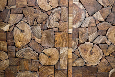 pieces of teak wood stump background photo